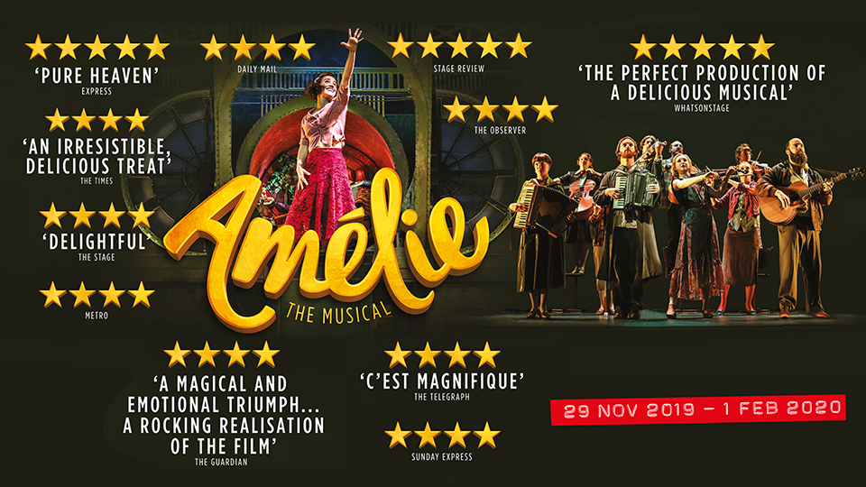 Amelie The Musical  poster with several quotes and wet end announcement poster